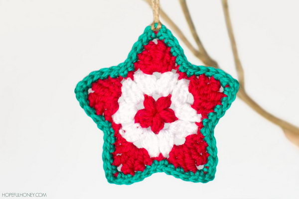 Crochet Star Christmas Ornament. You can make this crochet star ornament for your Christmas tree using your stash of scrap yarn. And it would be super easy to make too.