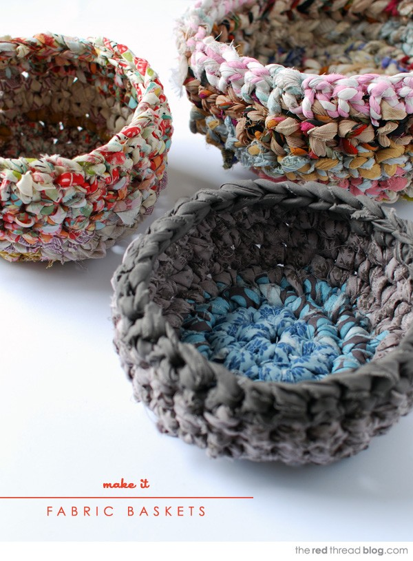 Cute Crochet Fabric Baskets. Use fabric scraps to make fabulous storage baskets. Tutorial via
