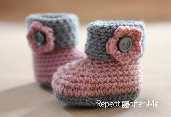 Crochet Cuffed Baby Booties. This cute Sweet hand crocheted baby booties can make a darling baby gift.