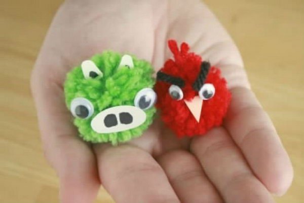 Cute Angry Bird Pom-Poms