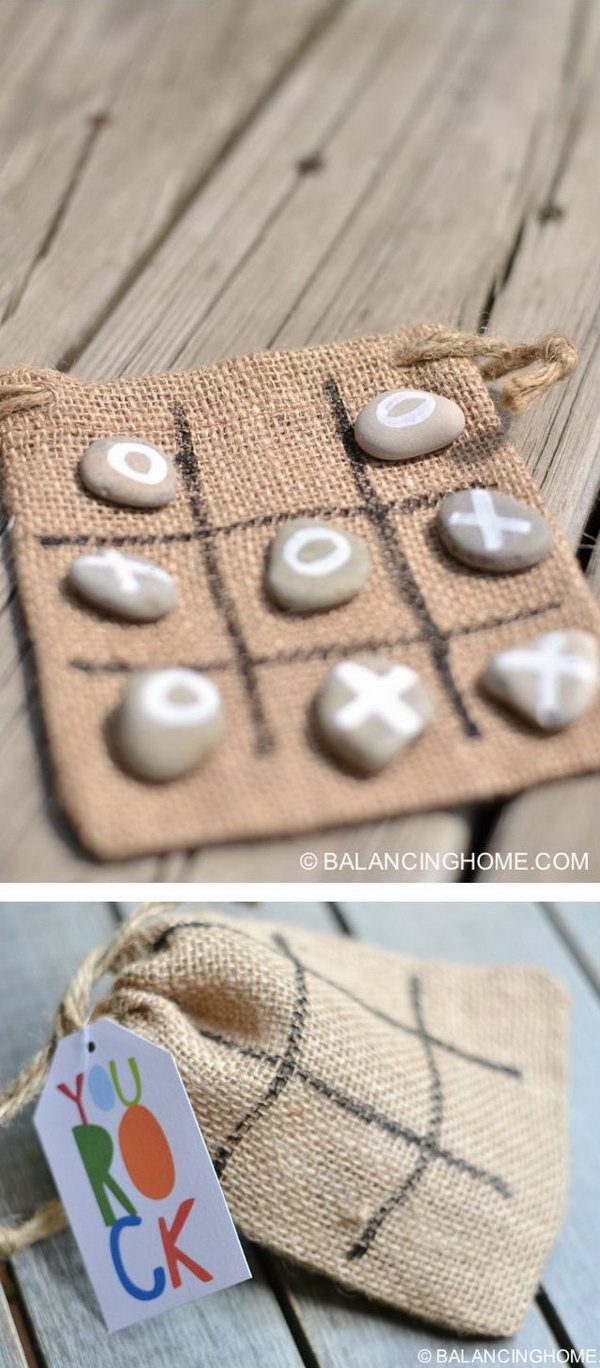 DIY Tic Tac Toe Rocks Bag Gift