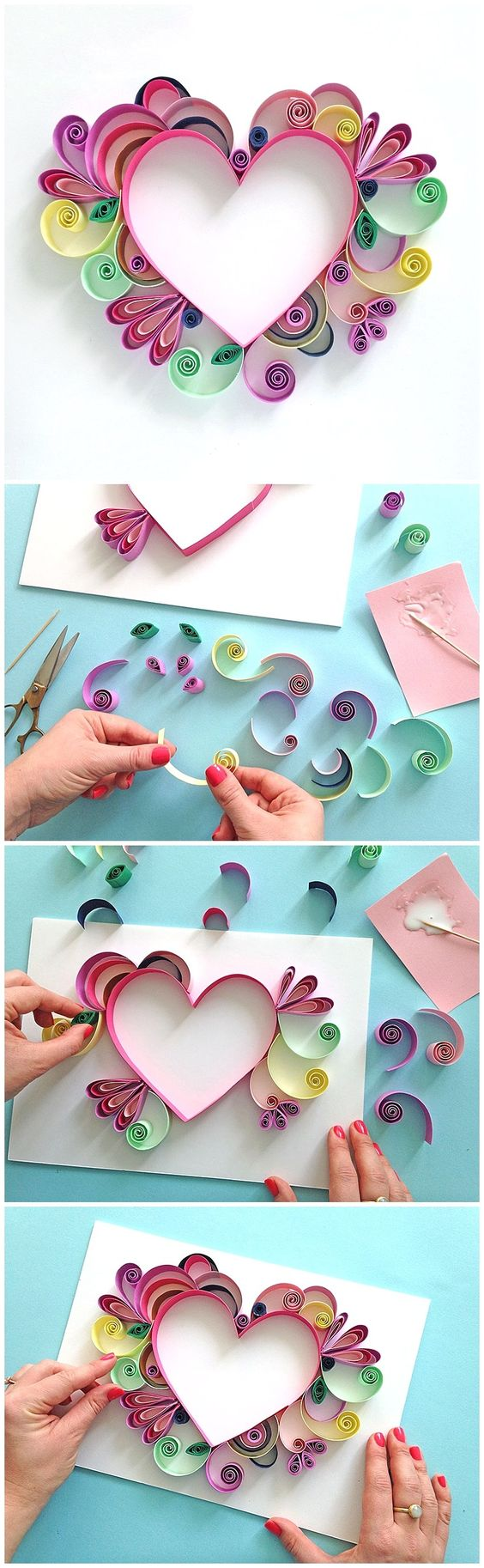 Heart Shaped Quilling Paper Craft.