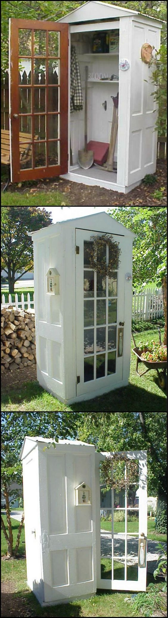 A Tool Shed Made from Repurposed Doors. See more details