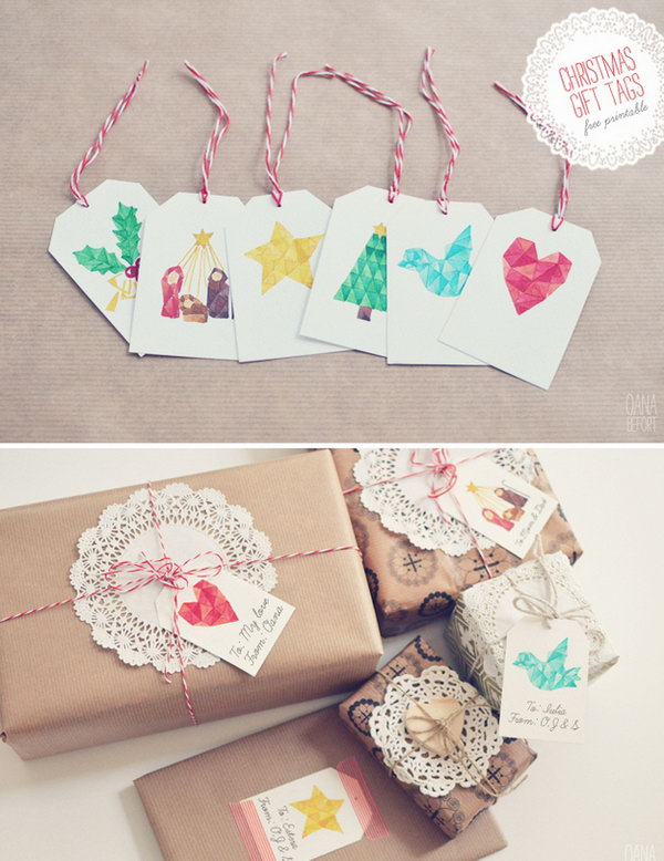 Watercolor Christmas Motif Tags.
