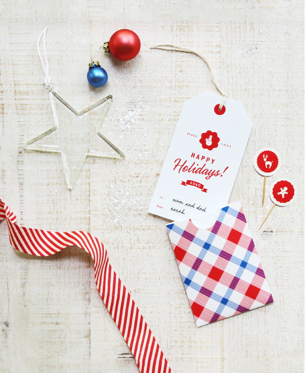 Gift Tags with Matching Plaid Pouch.