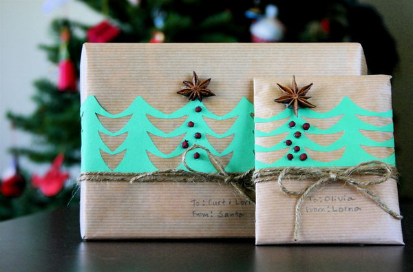 Paper Trees with Star Anise and Twine.