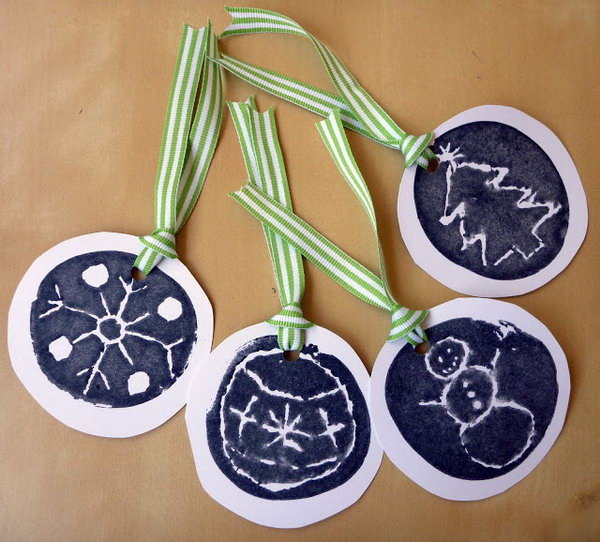 Potato Stamp Gift Tags.