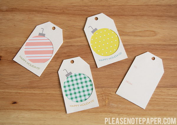 Scrap Paper Ornament Gift Tags.