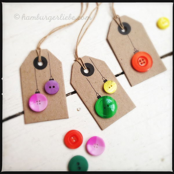 Button Ornaments Gift Tags.