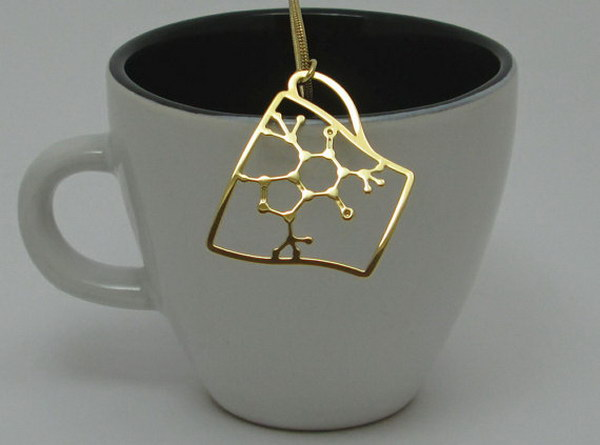 Caffeine Molecule in a Coffee Cup Necklace. This necklace is sure to be a fantastic conversation starter    especially over that hot cup of coffee!