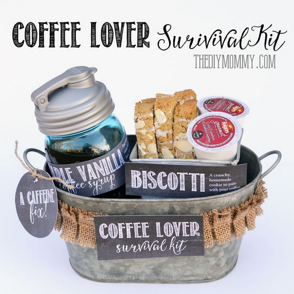 A Gift in a Tin: Coffee Lover Survival Kit. This gift in a tin is a great one for any caffeine lover on your list this year!