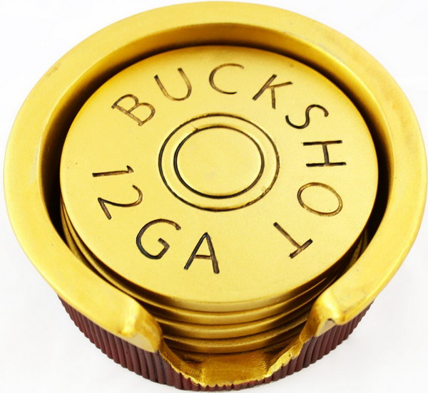 Shotgun Shell Coasters. These coasters look so cool and are great gifts for men. It adds a personal touch to the home of any hunting enthusiast. The bottoms also have little felt pads to protect your furniture.