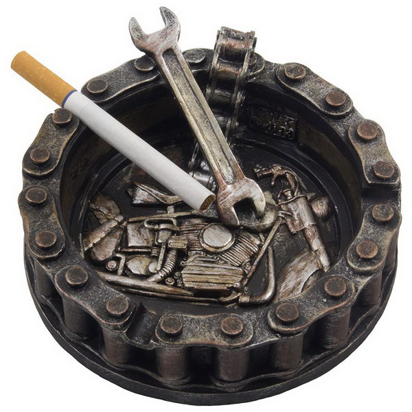 Decorative Motorcycle Chain Ashtray. This mini sculpture is a must have for any bike or mechanical enthusiast!