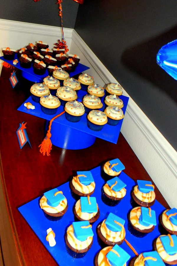 Graduation Cap Cupcake Display.