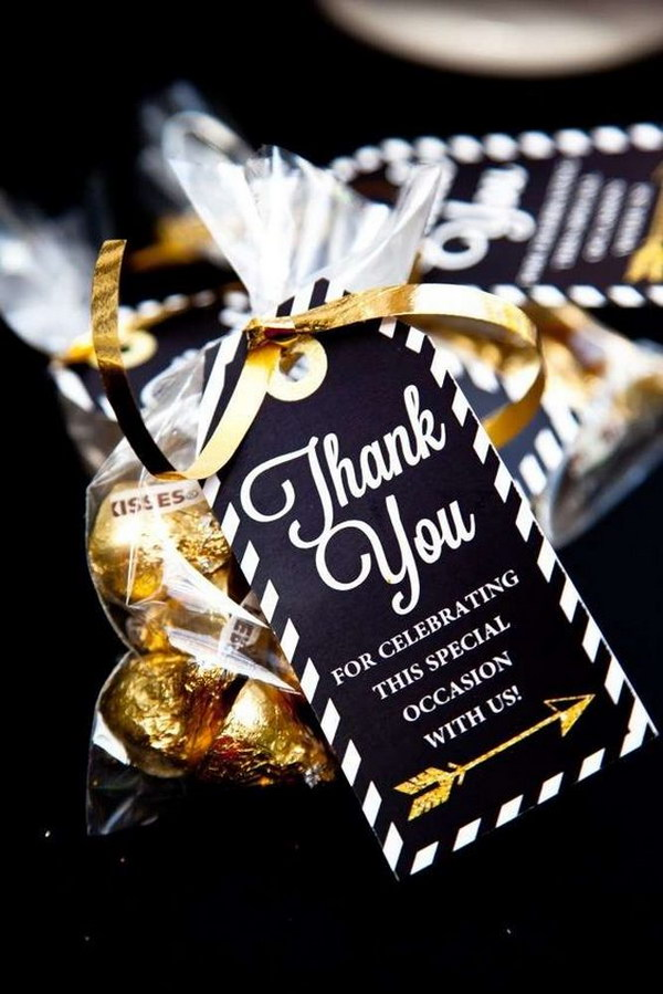 Black And Gold Themed Thank You Favors.
