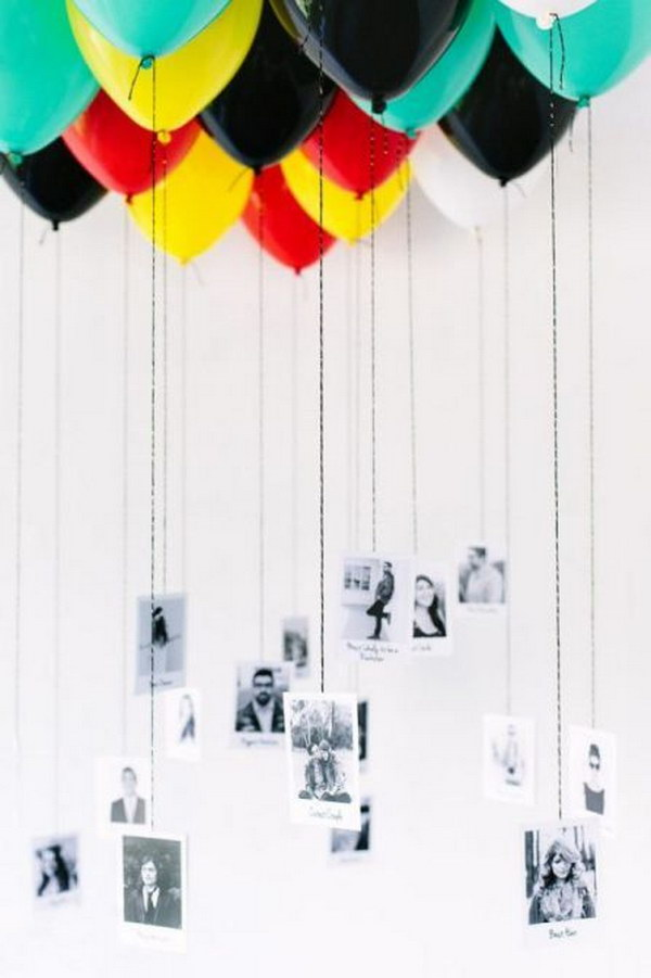 Fill Your Ceiling With Balloons That Incorporate Photos Of You And Your Guests.