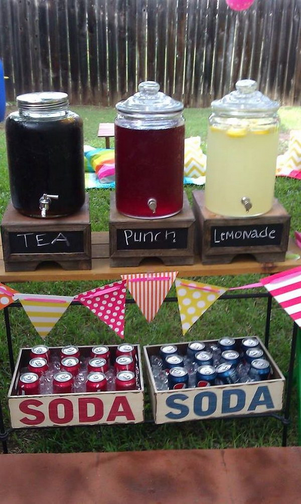 Drink Set Up At Graduation Party.