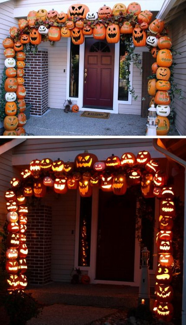 Awesome DIY fall jack-o-lantern arch made from PVC and foam pumpkins!