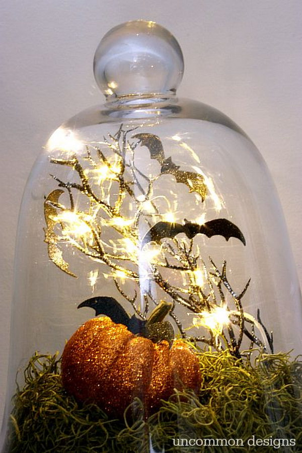 Halloween Bats in a Glass Cloche