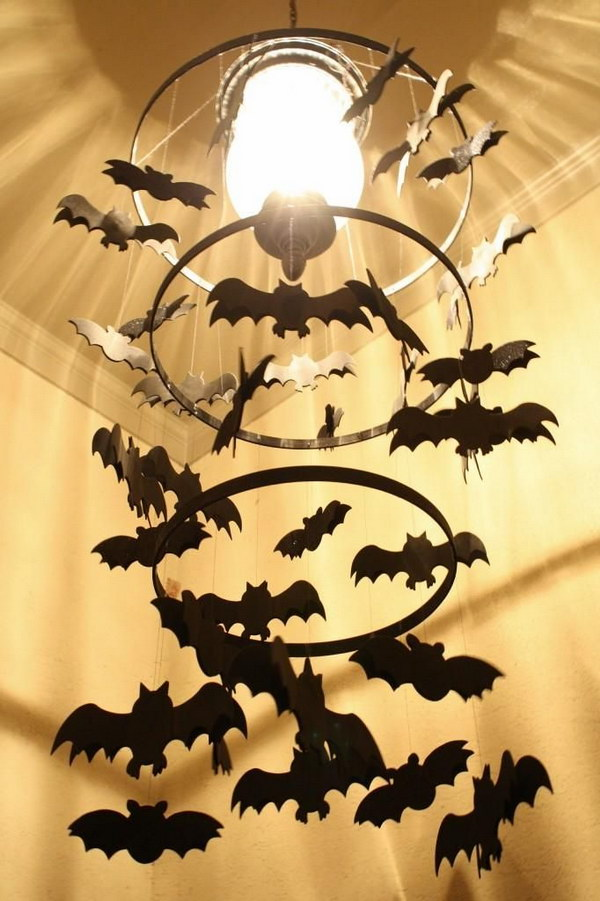 DIY Spooky Bat Chandelier
