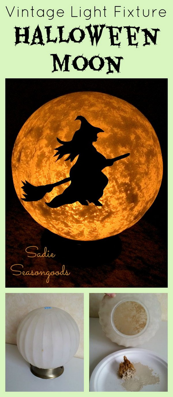 DIY Spooky Moon with a Little Witch on a Broom for Halloween
