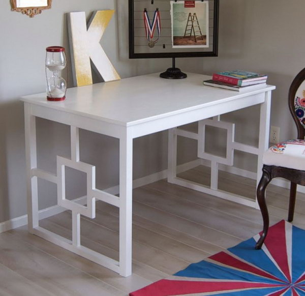 Chic Modern Desk Hacked from Ikea Unfinished Table. Get the directions