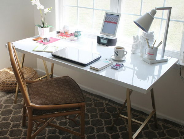 Gold A-Frame Desk. Get the tutorial