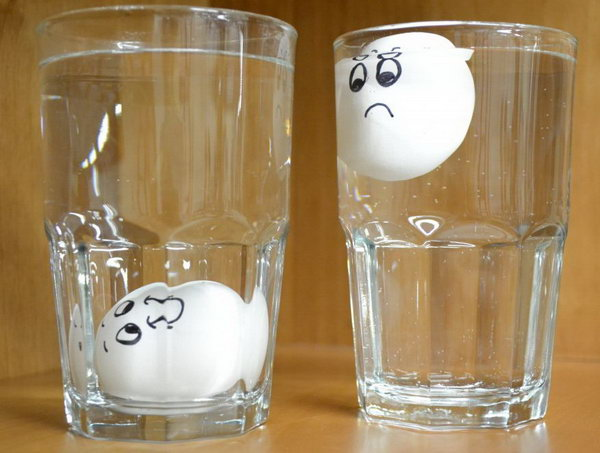 Test Egg Freshness Using Water If it floats it's no longer good to eat. If it sinks and lies flat at the bottom it's in good shape.
