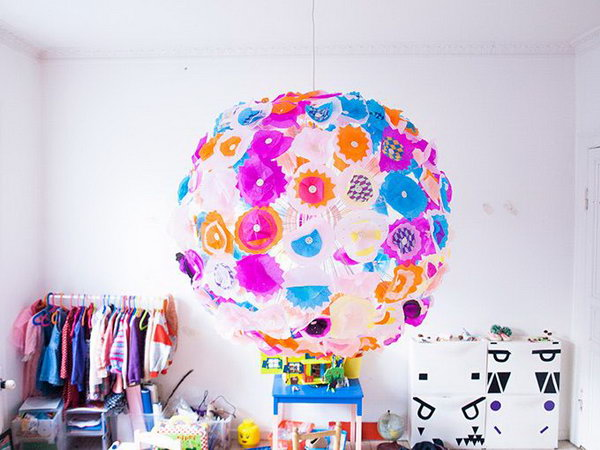 IKEA Maskros Lamp Hacked into Kid's Room Lighting  with  a Bright Floral Update with Layers of Tissue Paper.
