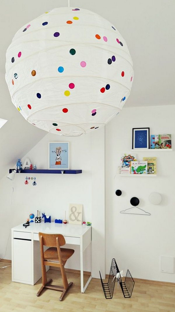 Upcycle IKEA Lampshade with Polka Dot Stickers. See more