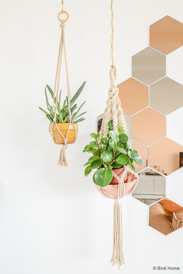 Metallic Accents for Hanging Plants.