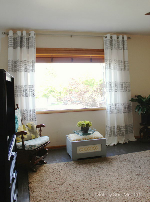 DIY Stenciled Curtains. See the steps