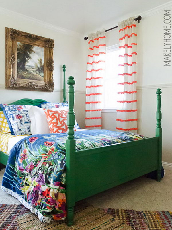 DIY Embellished Curtains. See more directions