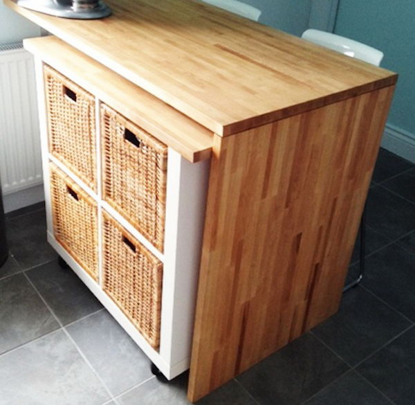 DIY Kitchen Island with an EXPEDIT Bookshelf. Get the full direction