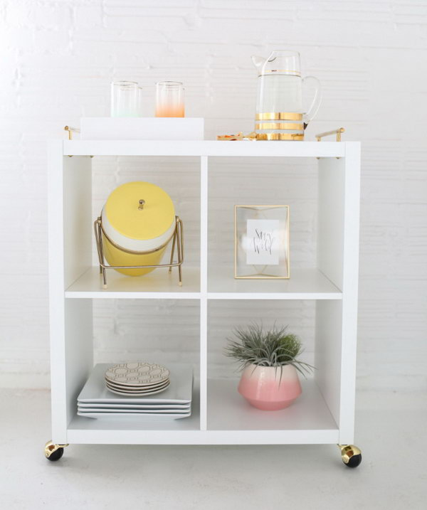 Fabulous Gilded Bar Cart Made from Ikea Kallax Book Shelf. See the tutorial