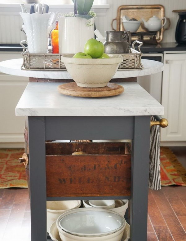 Marble Kitchen Island Upcycled from IKEA Beckvam Kitchen Cart. See more