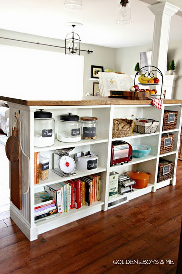 Bookshelves Turned Kitchen Island. Get the tutorial