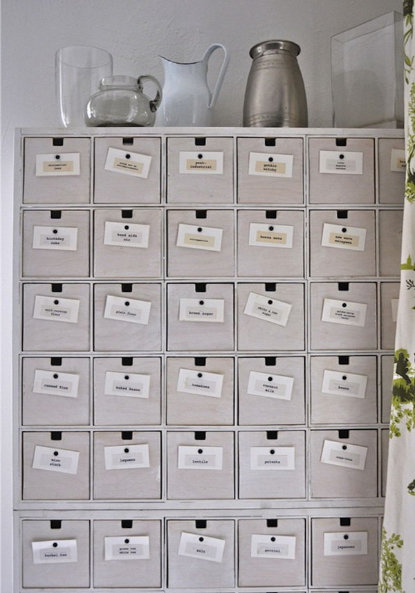 IKEA CD Drawers Hacked into a Wall of Drawers.