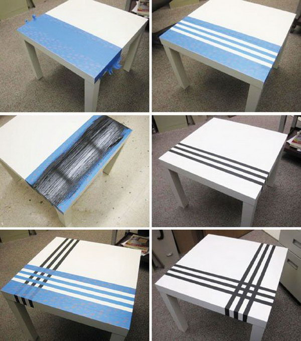 Pin Stripe a Table with Painter's Tape.