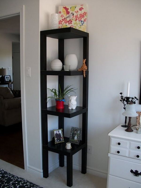 DIY Corner Shelf Made from Ikea Lack Table.
