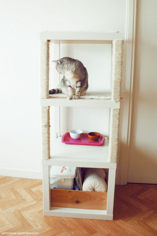DIY Cat Tree Made from Three Lack Tables.