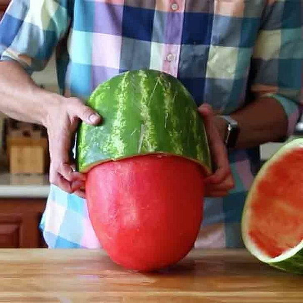 Insane Watermelon Skinning Trick.