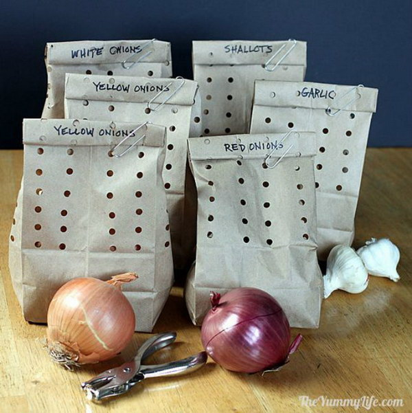 Hide Garlic and Onions in Holey Paper Bags.