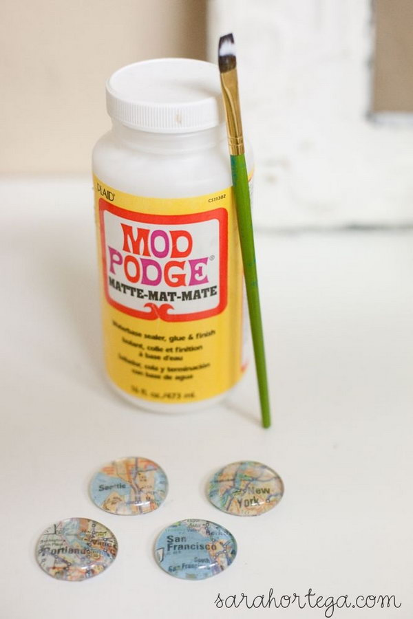 DIY Glass Marble Map Magnets
