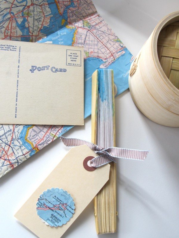 Personalized Fans With Old Maps For Destination Wedding