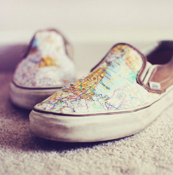 DIY Map Shoes for Travel Lovers