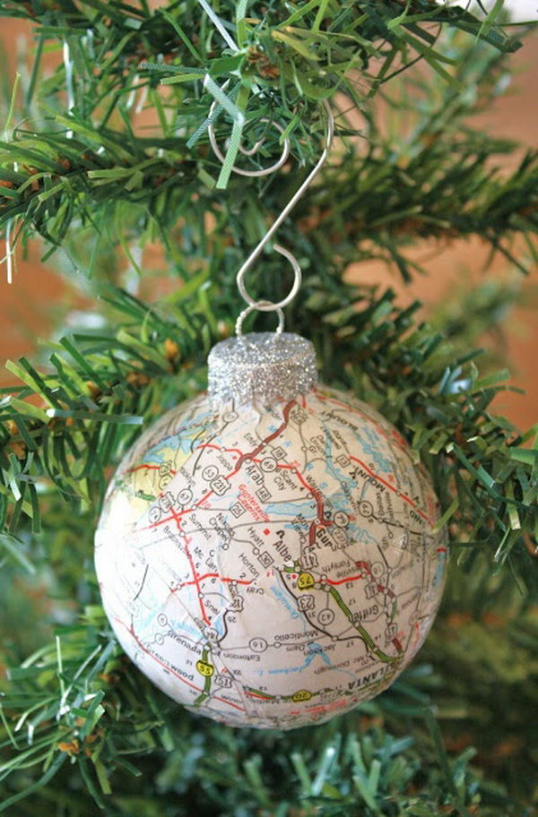 Decoupaged Ball Ornament Using Old Maps