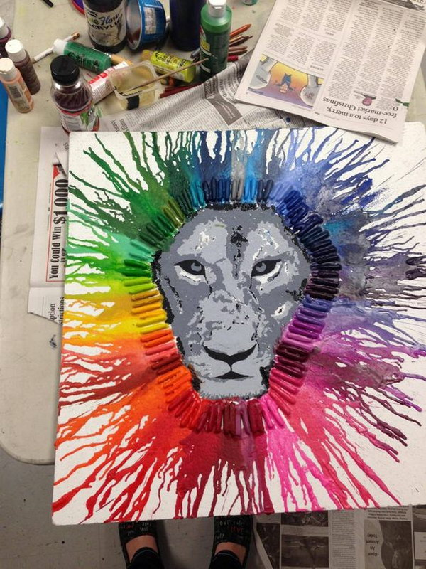 Melted Crayon Art Lion
