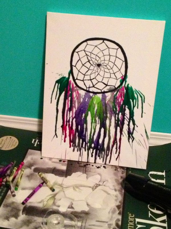 Dreamcatcher Melted Crayon Art.