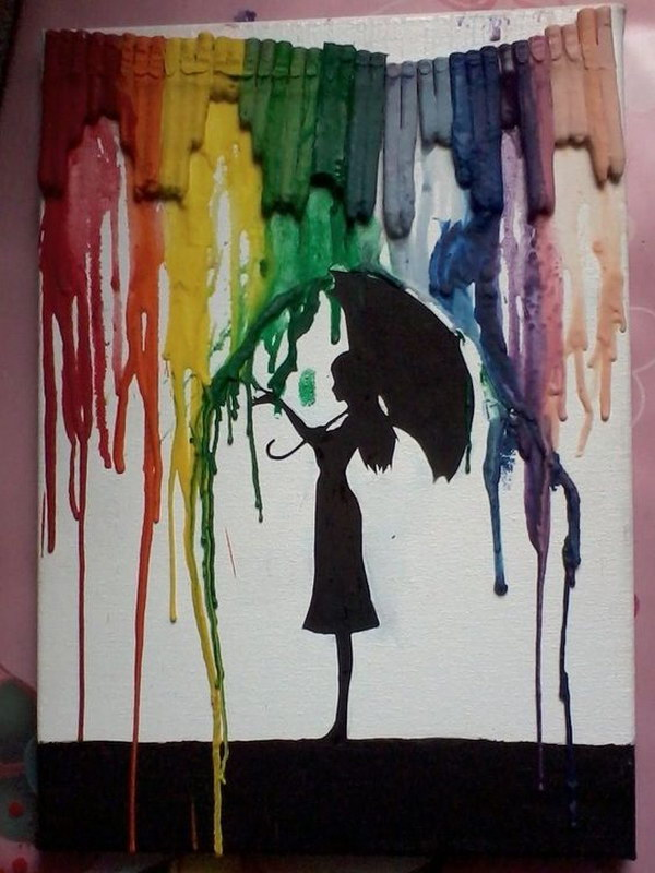 Umbrella Girl Melted Crayon Art.